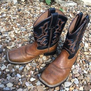 Justin Cowboy Boots Youth 13D Leather Brown Black
